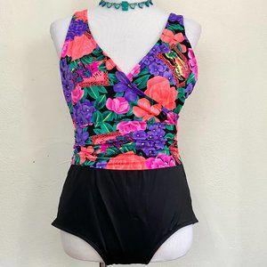 Vintage 1980s Catalina Black Floral Wrap Swimsuit